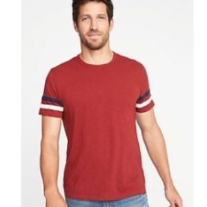 NWT Red Sleeve Striped Football Tee